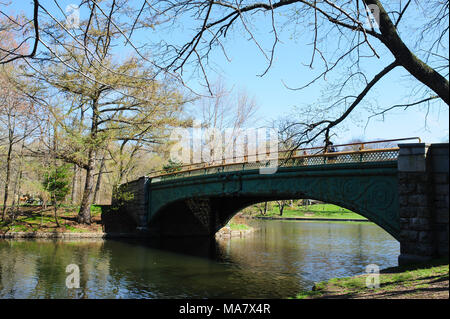 Lullwater Bridge crosses Lullwater during spring in Prospect Park, Brooklyn, New York City, April 2013. - Stock Photo