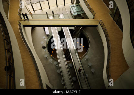 Walkway and escalator inside the Black Diamond, Copenhagen, Denmark - Stock Photo