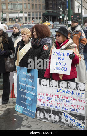 International Gift Of Life annual rally and walk of  Pro-Life groups & individuals took place on Palm Sunday March 24, 2018 in lower Manhattan. - Stock Photo