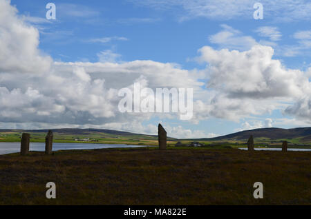 Neolithic Ring of Brodgar in the island of Mainland island, Orkney archipelago, Scotland - Stock Photo