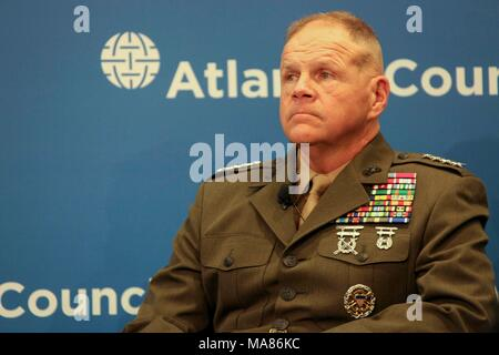 Commandant of the Marine Corps Gen. Robert B. Neller speaks to guests at the Atlantic Council, Washington, D.C., March 29, 2018. Neller spoke about the National Defense Strategy and the Marine Corps. (U.S. Marine Corps photo by Sgt. Olivia G. Ortiz) - Stock Photo