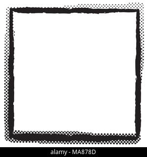 Abstract halftone dots frame. Vector grunge background. - Stock Photo