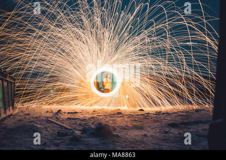 Amazing steel wool fire, the concept of industrial landscape - Stock Photo