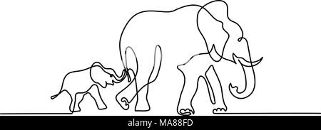 Elephant mom with baby walking symbol - Stock Photo