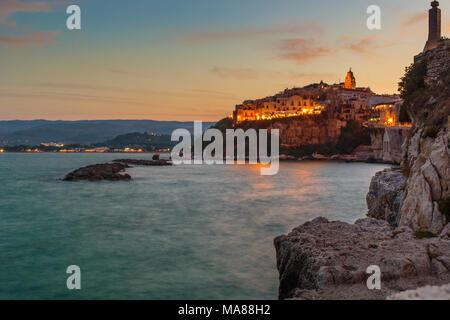 Vieste (Foggia, Italy) - Vieste by Night - Stock Photo