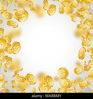 Realistic gold coins illustration on clean background. Falling coin with dollar sign. Vector success concept design. - Stock Photo