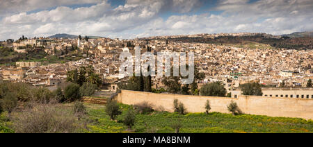 Morocco, Fes, panoramic view of Fes el Bali medina from below Borj Sud - Stock Photo