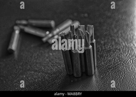 Head for screwdriver (bits) on blue background, Tools collection turn-screw. - Stock Photo
