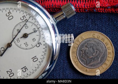 Turkish coin with a denomination of 1 lira (back side) and stopwatch on blue jeans with red stripe backdrop - business background - Stock Photo