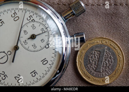 Turkish coin with a denomination of one lira and stopwatch on worn beige jeans backdrop - business background - Stock Photo