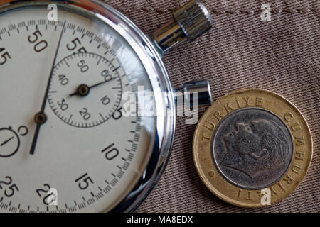 Turkish coin with a denomination of 1 lira (back side) and stopwatch on worn beige denim backdrop - business background - Stock Photo
