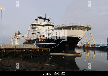 The Grand Canyon III offshore construction vessel in the Port of Blyth, Northumberland, England - Stock Photo