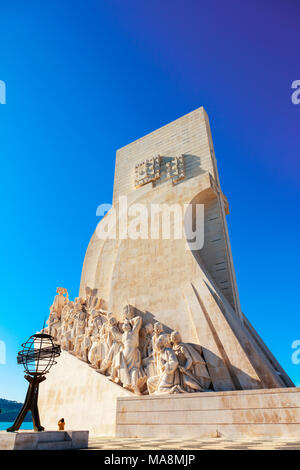 Detail of famous Monument of the Discoveries in Belem area of Lisbon, Portugal. - Stock Photo
