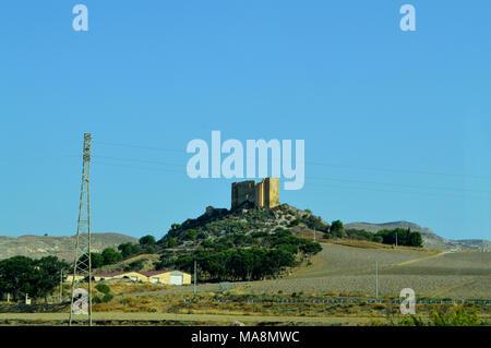 View of Svevo Castle, Commonly Called Castelluccio, Gela, Sicily, Italy - Stock Photo