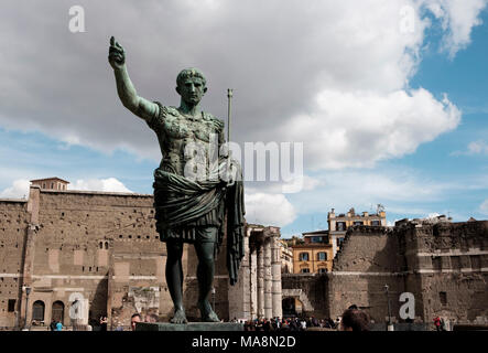 Statue of roman emperor Caesar Augustus on Via dei Fori Imperiali, Rome - Stock Photo