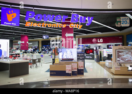 CHIANG MAI, THAILAND -MARCH 30 2018: Powerbuy Eelectronic  Shop inside Central Festival Chiangmai. Photo in Central Festival chiang mai. - Stock Photo