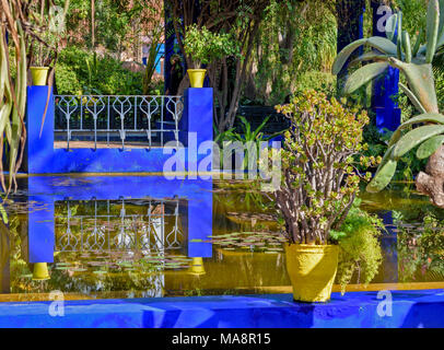 MOROCCO MAJORELLE GARDEN JARDIN REFLECTIONS IN BLUE WITH YELLOW POT AND PLANT ON A BLUE WALL - Stock Photo