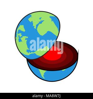Earth core. Center of planet. Structure of earths crust. Internal layers in section - Stock Photo