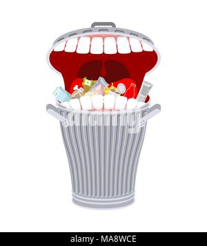 Garbage can with teeth. Trash can hungry. Eats rubbish - Stock Photo