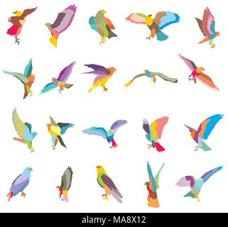 Set of vector colorful mosaic cut out flying and sitting silhouettes of eagle, hawk isolated on white background - Stock Photo