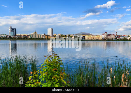 KAZAN, TATARSTAN, RUSSIA - JUNE 04, 2016: View of Kazan city from water - Stock Photo