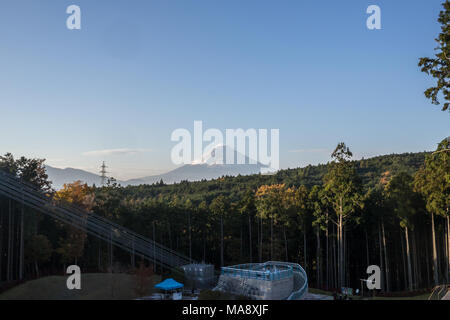 A view of Mount Fuji and the Mishima Skywalk Bridge - Stock Photo