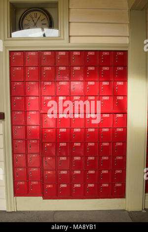 Colorful mailboxes in the post office in historic Arrowton, Otago, New Zealand - Stock Photo