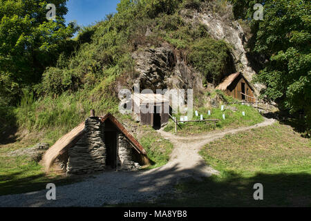 The old Chinese gold rush settlement in historic Arrowton, Otago, New Zealand - Stock Photo