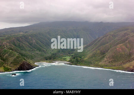 Molokai Sea Cliffs - the highest in the world - from a helicopter in the State of Hawaii - Stock Photo
