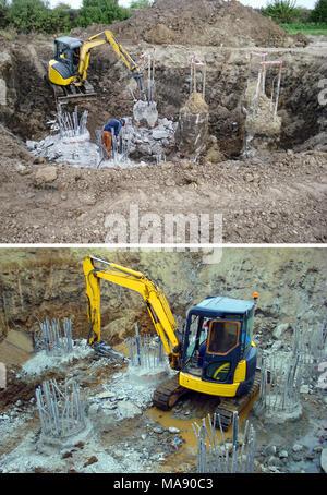 Set of mini excavator - Stock Photo