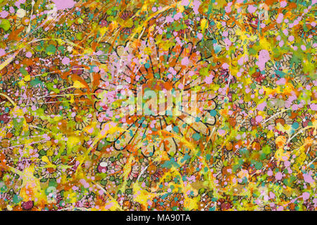 The flowery background sloppy with colourful  paint - Stock Photo