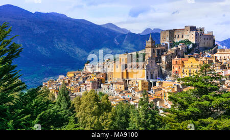 Colorful Caccamo village,view with traditional houses and old castle,Sicily,Italy. - Stock Photo