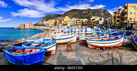 Traditional Aspra village,view with colorful houses and fishing boats,Sicily,Italy. - Stock Photo