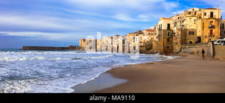 Beautiful Cefalu villageover sunset,Panoramic view,Sicily,Italy. - Stock Photo