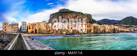 Beautiful Cefalu village,view with traditional houses and sea,Sicily,Italy. - Stock Photo