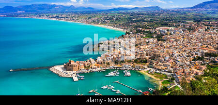Beautiful Castellammare del Golfo,panoramic view,Sicily,Italy. - Stock Photo