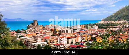 Beautiful Brolo village,panoramic view,Sicily,italy. - Stock Photo