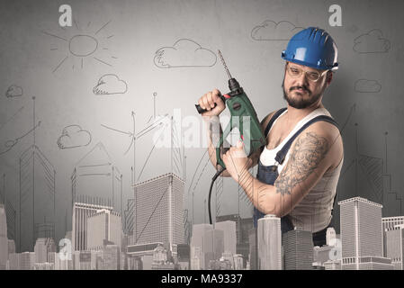 Handyman with tool in his hand and cityscape nearby. - Stock Photo
