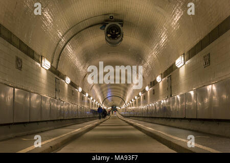 St. Pauli-Elbtunnel / St. Pauli Elbe Tunnel / Alter Elbtunnel / Old Elbe Tunnel, pedestrian and vehicle tunnel in Hamburg, Germany - Stock Photo