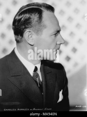 Charles Ruggles, Publicity Portrait, Head and Shoulders Profile, Paramount Pictures, 1934 - Stock Photo