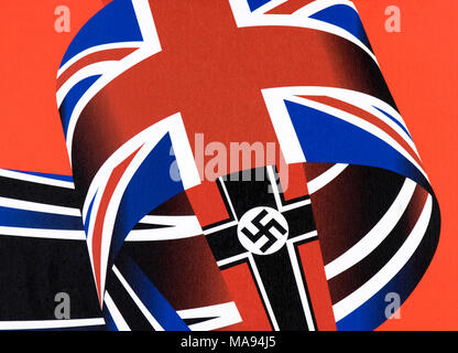 World war 2 flags Germany England armed forces Germans English second world war history military holocaust third reich nazi nazis invasion army - Stock Photo