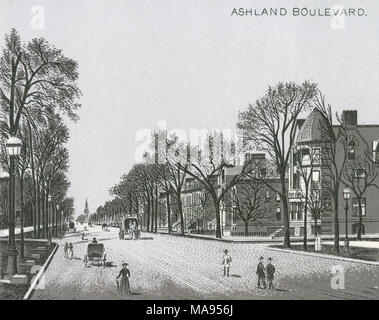 Antique c1885 monochromatic print from a souvenir album, showing Ashland Boulevard in Chicago, Illinois. Printed with the Glaser/Frey lithographic process, a multi-stone lithographic process developed in Germany. - Stock Photo