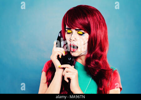 Woman with Comic Pop Art Makeup Call on Blue Background - Stock Photo