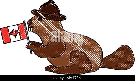 Beaver Rodent With Hat And Canadian Flag Stock Vector Art
