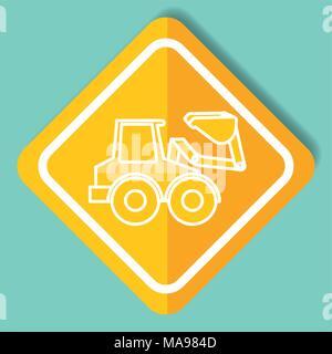construction sign bulldozer machinery image - Stock Photo