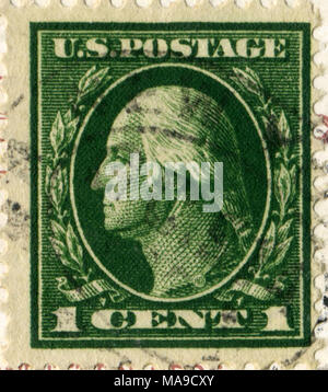 UNITED STATES OF AMERICA - CIRCA 1913: A 1 cent stamp printed in the USA shows image of President George Washington, circa 1913 - Stock Photo