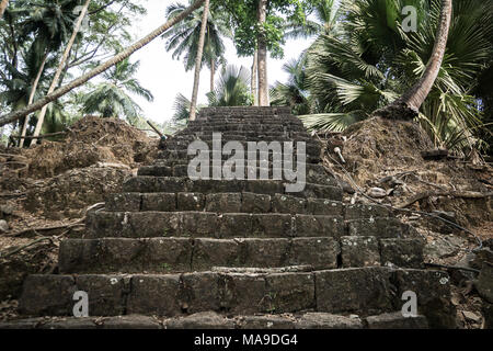 A stone staircase in the jungles of Ross island India Andaman and Nicobar Islands. - Stock Photo