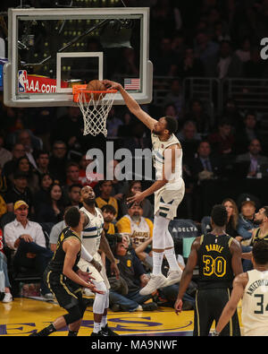 Los Angeles, CA, USA. 30th Mar, 2018. Milwaukee Bucks forward Jabari Parker (12) dunking during the Milwaukee Bucks vs Los Angeles Lakers at Staples Center on March 30, 2018. (Photo by Jevone Moore) Credit: csm/Alamy Live News - Stock Photo