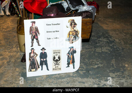 Manchester, UK, 31st March 2018.  Post apocalyptic time travellers meet up for a weekend at the asylum as the four day steampunk convention gets under way at the Bowlers Exhibition Centre in Greater Manchester.  Credit: Cernan Elias/Alamy Live News - Stock Photo