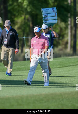 Humble, Texas, USA. 30th Mar, 2018. K.J. Choi (KOR) heads down 8 during Round 2 of the Houston Open on March 30, 2018 at Golf Club of Houston in Humble, Texas. Credit: Action Plus Sports/Alamy Live News